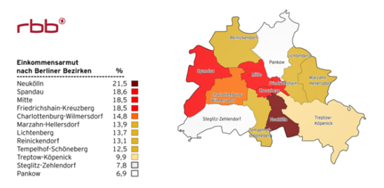 베를린 빈민 계층 비율 지도 출처: rbb-online