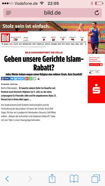 무슬림 명예 살인 혹은 무슬림 범죄에 대해 이슬람 종교를 이유로 관용적 처벌을 내린다는 기사