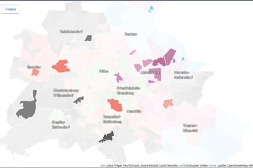 난민 수용소 위치 선거구 별 1위 정당 출처:http://berlinwahlkarte2016.morgenpost.de/)