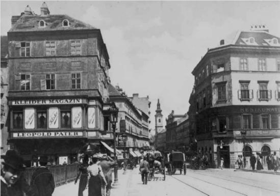 1899년 오스트리아 빈의 타보 거리 풍경. 출처: Austrian National Library, Vienna