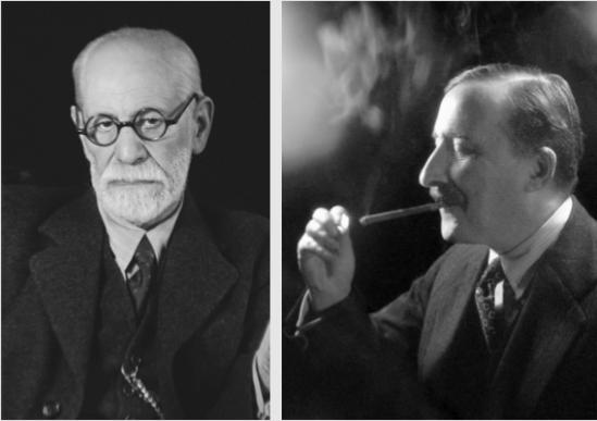 인물사진의 거장 마르첼 슈테른베르거가 찍은 프로이트와 츠바이크의 초상 사진.