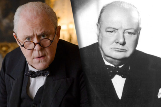 존 리쓰고우가 연기한 처칠(왼쪽)과 실제 처칠(오른쪽).