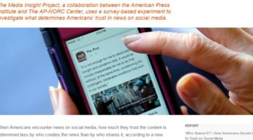 뉴스기사의 신뢰도는 '누가 공유했나?'가 언론사보다 중요하다