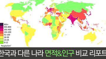 한국의 인구밀도는 세계 몇 위?