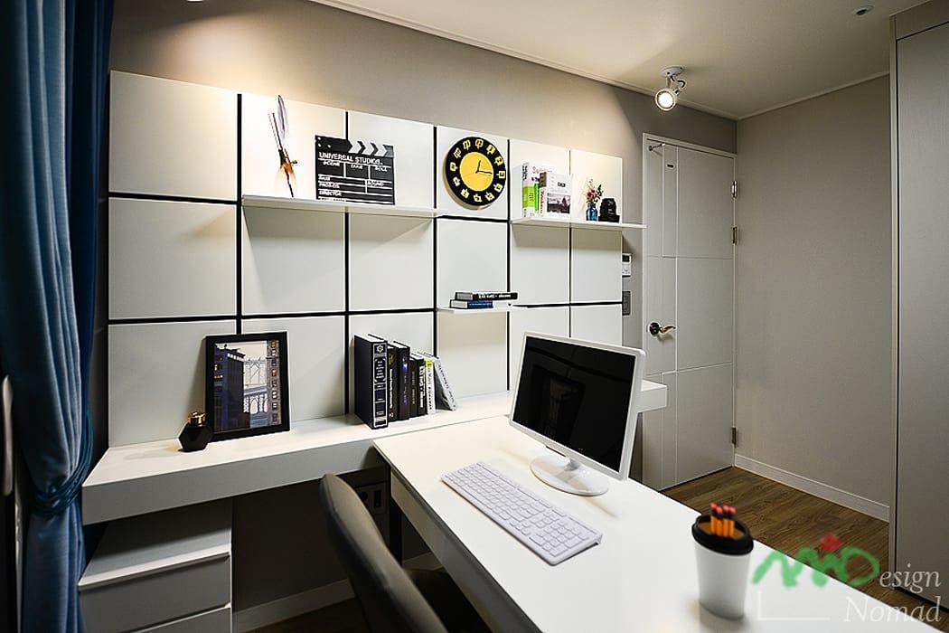 부산 분양 모델하우스 세팅, 산토리니 스타일 - 노마드디자인: 노마드디자인 / Nomad design의 서재 & 사무실
