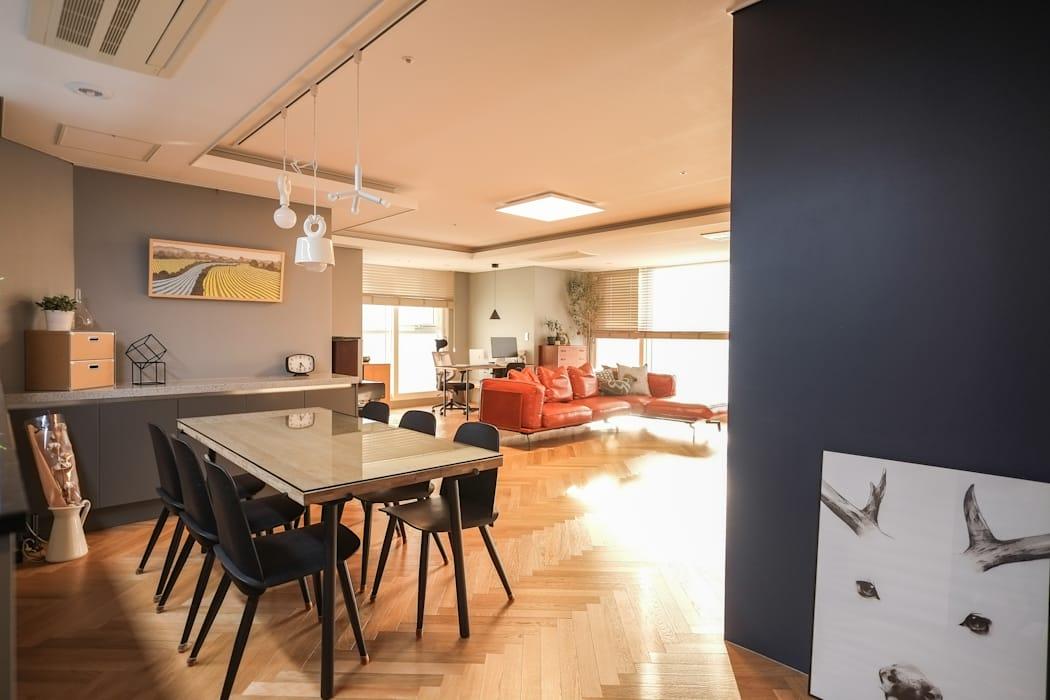 건대 스타시티 주상복합: 바라봄디자인의 다이닝 룸