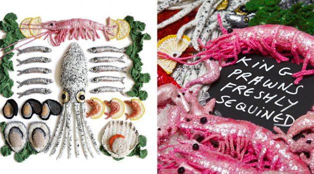 털실로 싱싱한 해산물을 만드는 아티스트