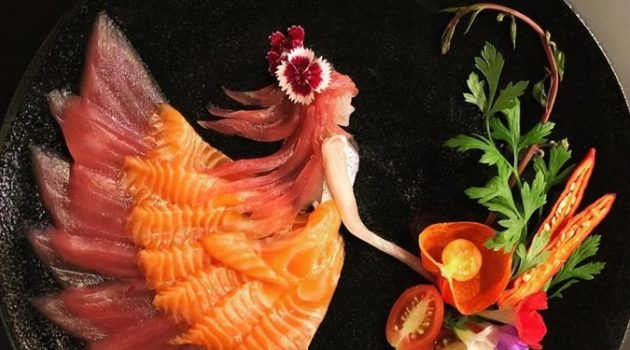 도저히 먹을 수 없는 생선회 한 접시, 사시미 아트