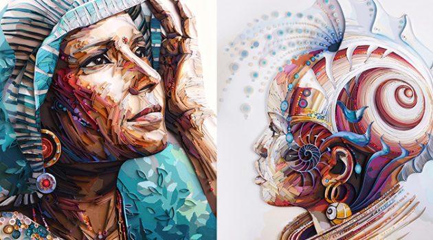 종이로 그린 초상화: 믿을 수 없이 정교한 페이퍼 아티스트의 세계