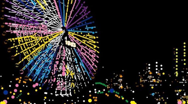 """""""문방구 스티커""""로 도시 야경 그림을 그리는 아티스트"""